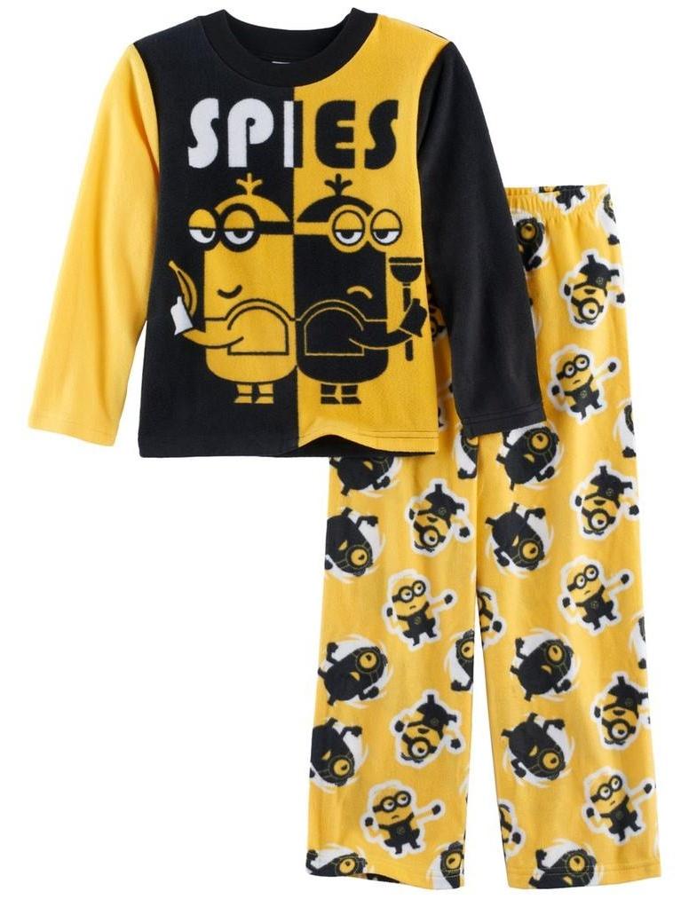 Despicable Me Boys' Minions 2-Piece Fleece Pajama Set, Sly Spies Yellow, Size: 10