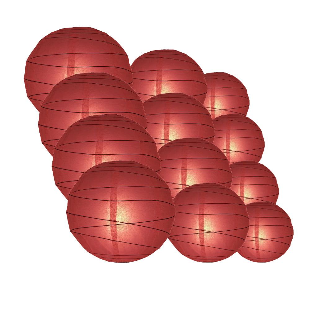 "Quasimoon Round Paper Lanterns 12pcs Assorted Combo Party Pack - (12/10/8"") Crisscross Ribbing, Marsala / Burgundy Wine - by PaperLanternStore"