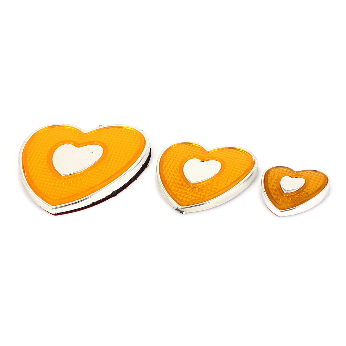 Yellow Heart Shaped Reflective Self-Adhesive Car Sticker Decal 3 in 1
