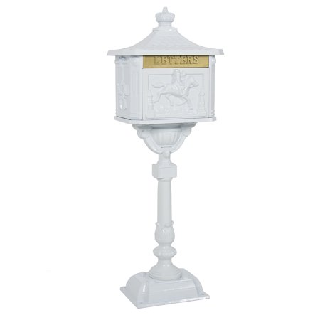 Best Choice Products Heavy Duty Cast Aluminum Vintage Mailbox w/ Keys, Locking Door, Mail Flap - - White Mailbox