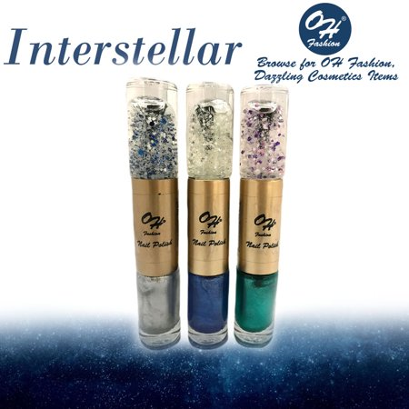 Metallic Base Coat (OH Fashion Nail Polish Double Cylinder Style Interstellar Several Colors Metallic Silver, Blue and Green 3 PCS 2 Colors in 1 Base Coat & Top Coat Manicure, Pedicure, Nail Color)