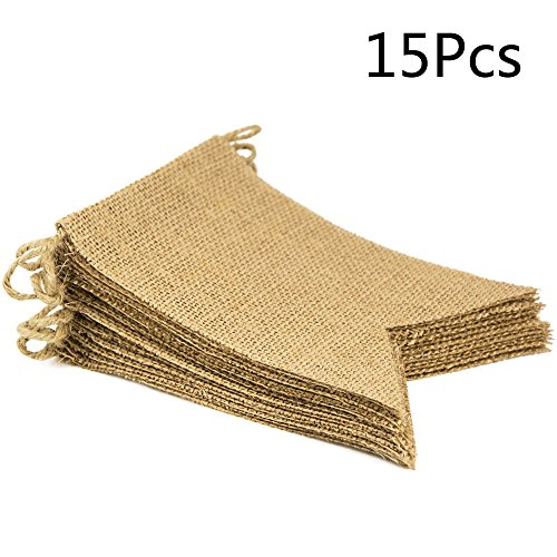 ThxToms 15Pcs Burlap Banner, DIY Decoration for Wedding, Baby Shower and Party, 14.5feet
