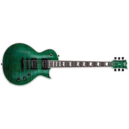 - Esp Ltd EC1000 Flame Top See Thru Green Set Neck Electric Guitar with Seymour Duncan Pickups