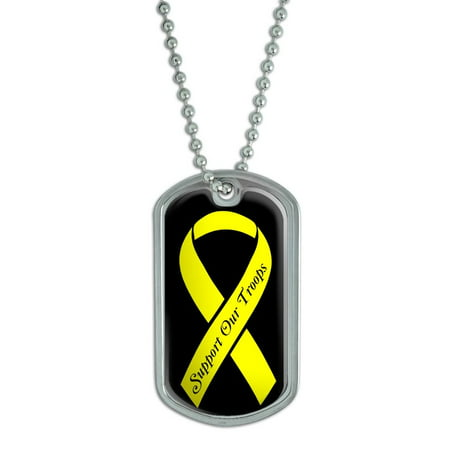 Troops Dog Tag (Support Our Troops Yellow Ribbon Dog Tag)