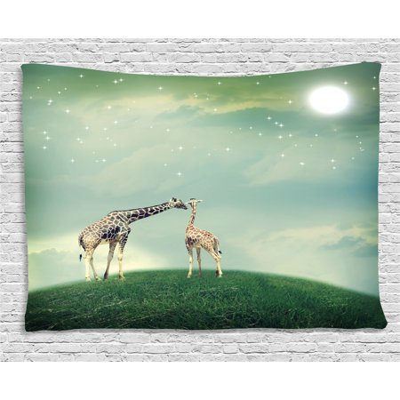 Giraffe Tapestry, Mother and Child Animal on Meadow Fairytale Atmosphere Shining Stars Romance Moon Image, Wall Hanging for Bedroom Living Room Dorm Decor, 60W X 40L Inches, Multi, by Ambesonne