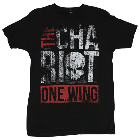 The Chariot Mens T-Shirt  - Distressed One Wing Word Logo