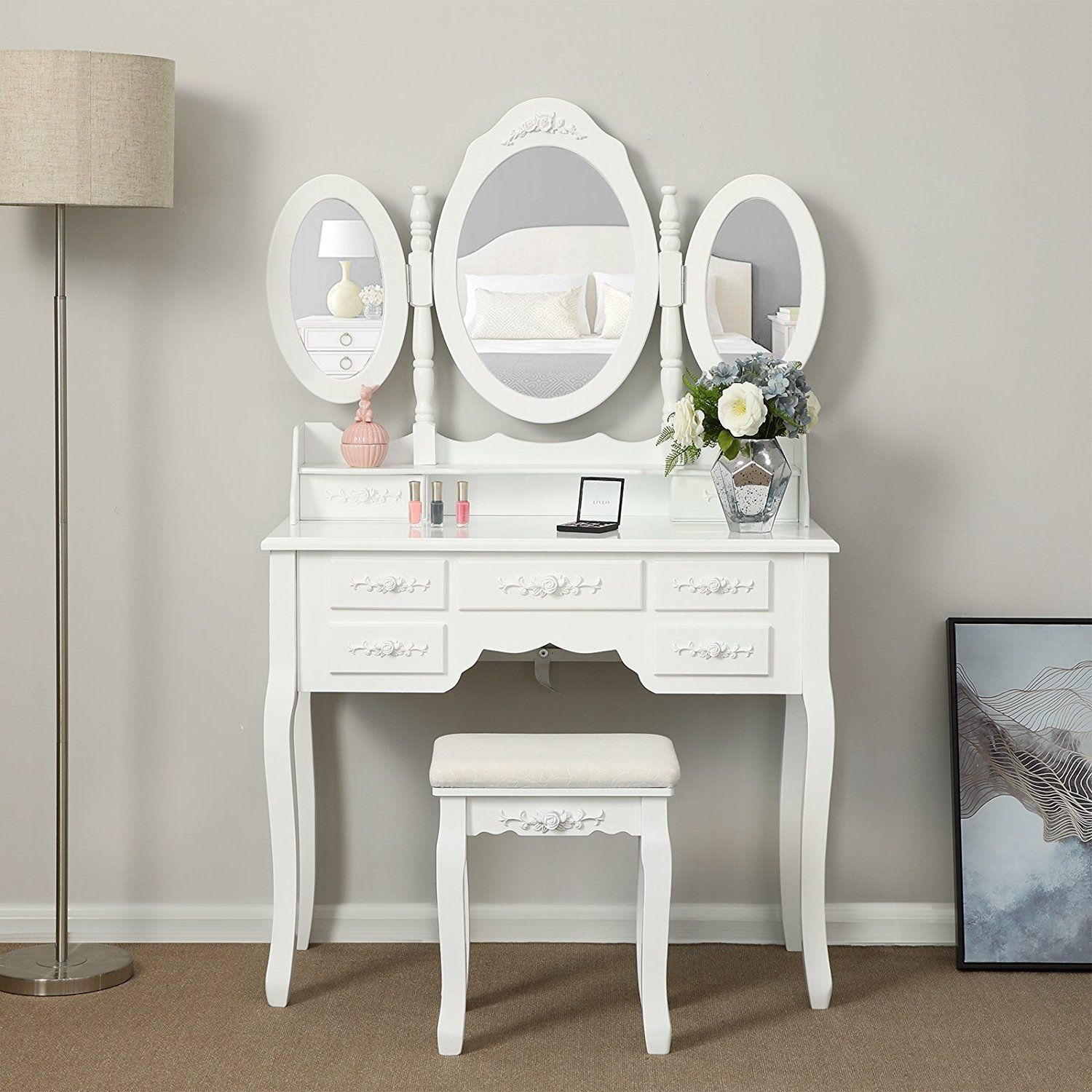 Zimtown Vanity Set Makeup Desk Set Dressing Table 3 Mirrors with 7 Drawers 360°Rotation White