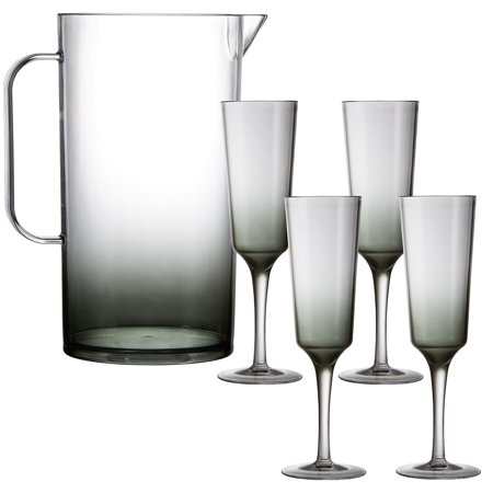 Party City Ombre Premium Acrylic Mimosa Set for 4, Includes Smoky Ombre Tall Serving Pitcher and 4 Stemmed