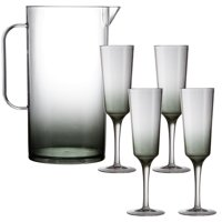 Party City Ombre Premium Acrylic Mimosa Set for 4, Includes Smoky Ombre Tall Serving Pitcher and 4 Stemmed Flutes