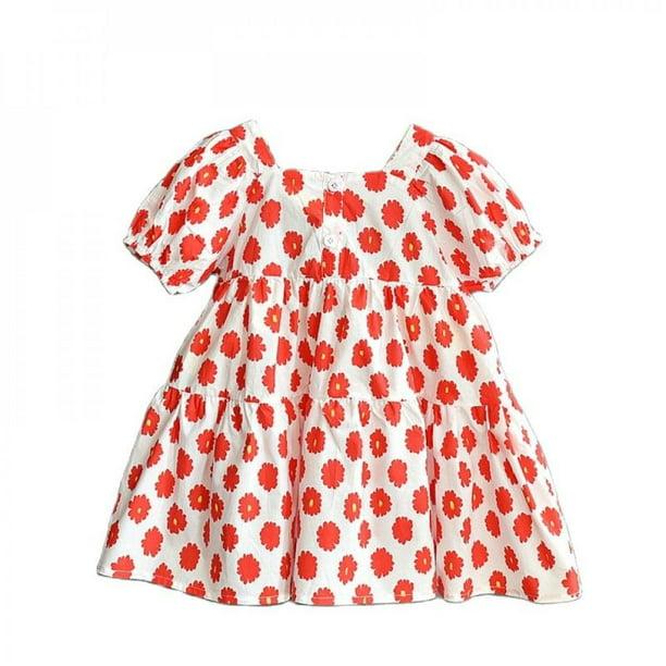 Zerofeel Baby Girls Dress Kids Girls Daisy Print Bubble Sleeve Loose Dress For Children Summer Fashion Princess Party Clothes Walmart Com Walmart Com