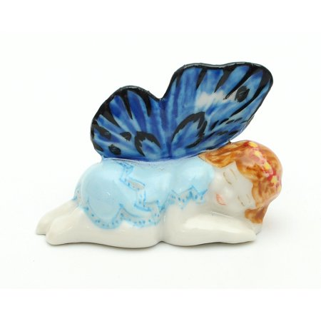 Handmade Miniatures Ceramic Blue Wings Sleeping Garden Fairy Figurine Animals Decor/Animal Collection