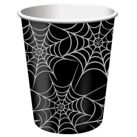 96 Black & Silver Halloween Spider Web Hot and Cold Drinking Party Cups - 9 oz. - Halloween Capes