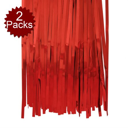 Black And Gold Party Theme (Aspire Foil Fringe Curtain (SET OF 2) Metallic Photo Booth Tinsel Backdrop Door Curtains - Perfect For Christmas & New Years Eve Party-Red-3'x8')