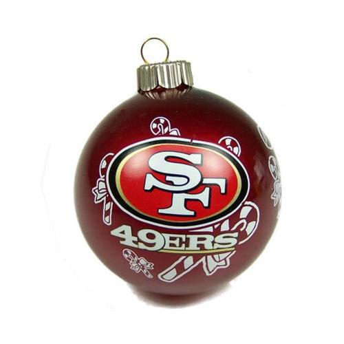 San Francisco 49ers 2 5/8'' Painted Round Candy Cane Christmas Tree Ornament