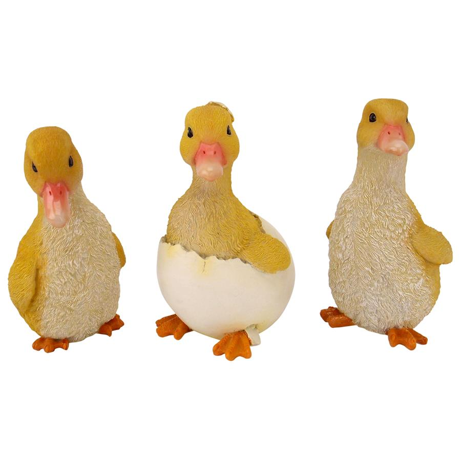 Duckling Brood Garden Statues: Set of Three by Design Toscano
