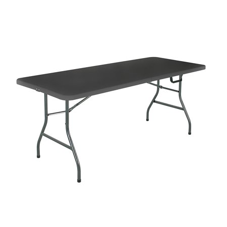Cosco Deluxe 6 foot x 30 inch Fold-in-Half Blow Molded Folding Table,