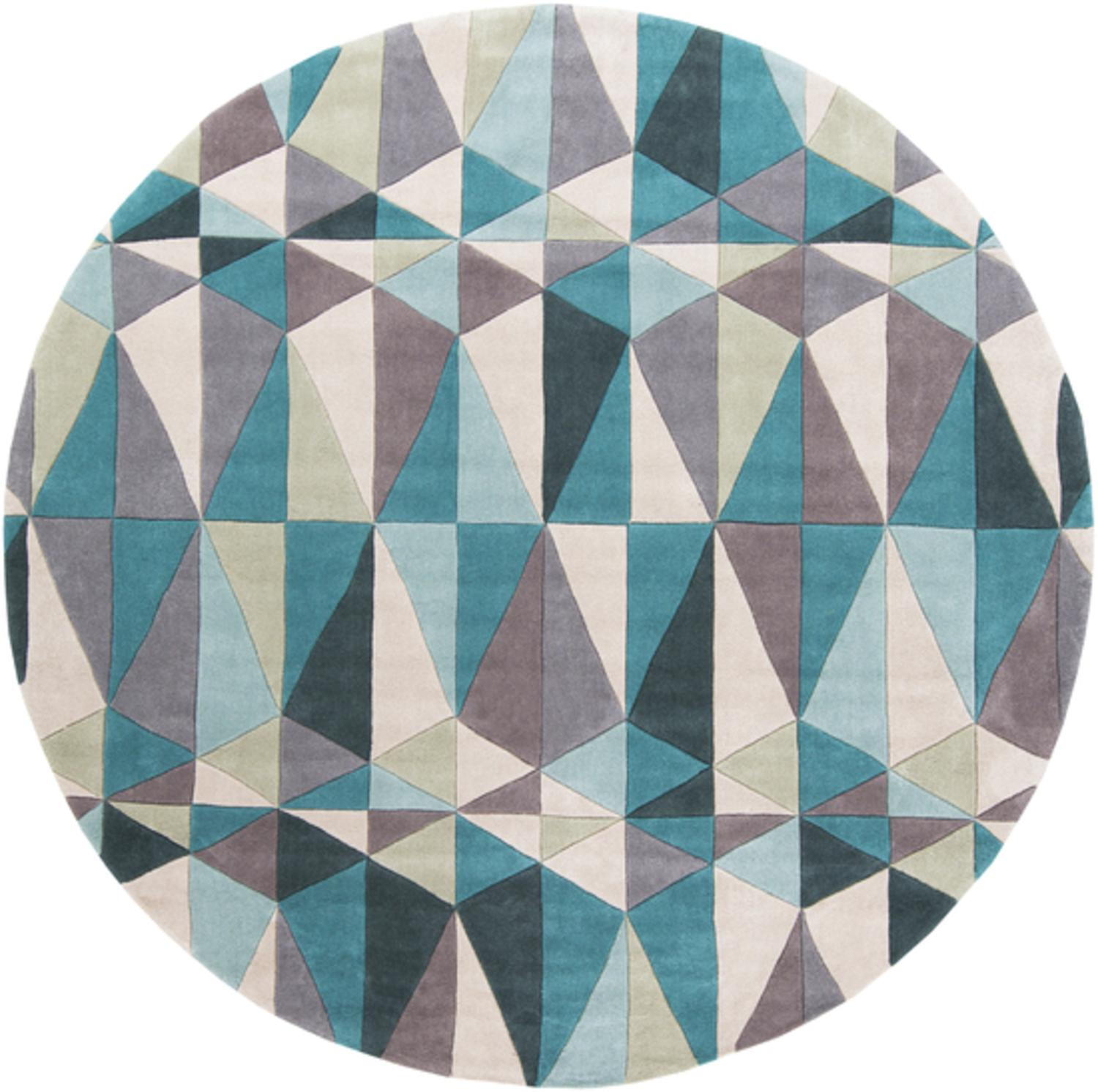8' Mid-Century Geo Prism Teal Blue and Gray Hand Tufted Round Area Throw Rug