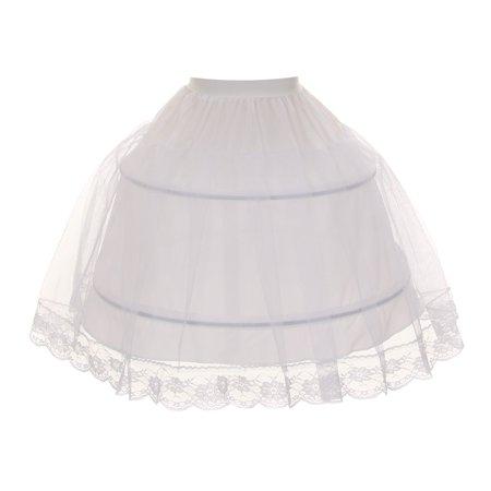 Kids Dream Little Girls White Half Hoop Wire FULL Princess Petticoat 2-6