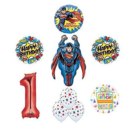 Superman 1st Birthday Party Supplies and Balloon Decoration - Superman Party Decorations