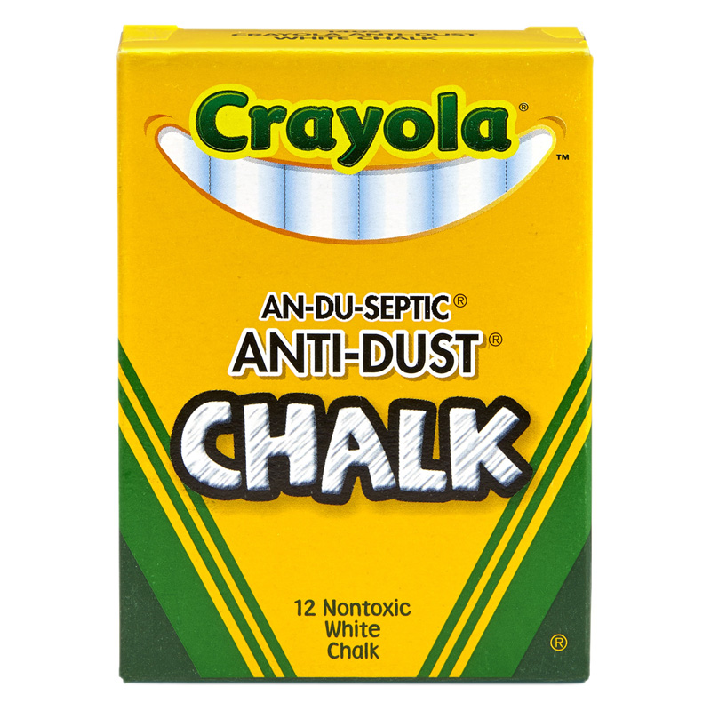 "Crayola Anti-Dust Chalk - 3.3"" Length - 0.4"" Diameter - White - 12 / Box"