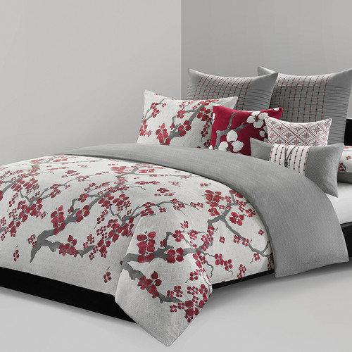 N Natori Cherry Blossom Mini Duvet Set, King, Multicolored