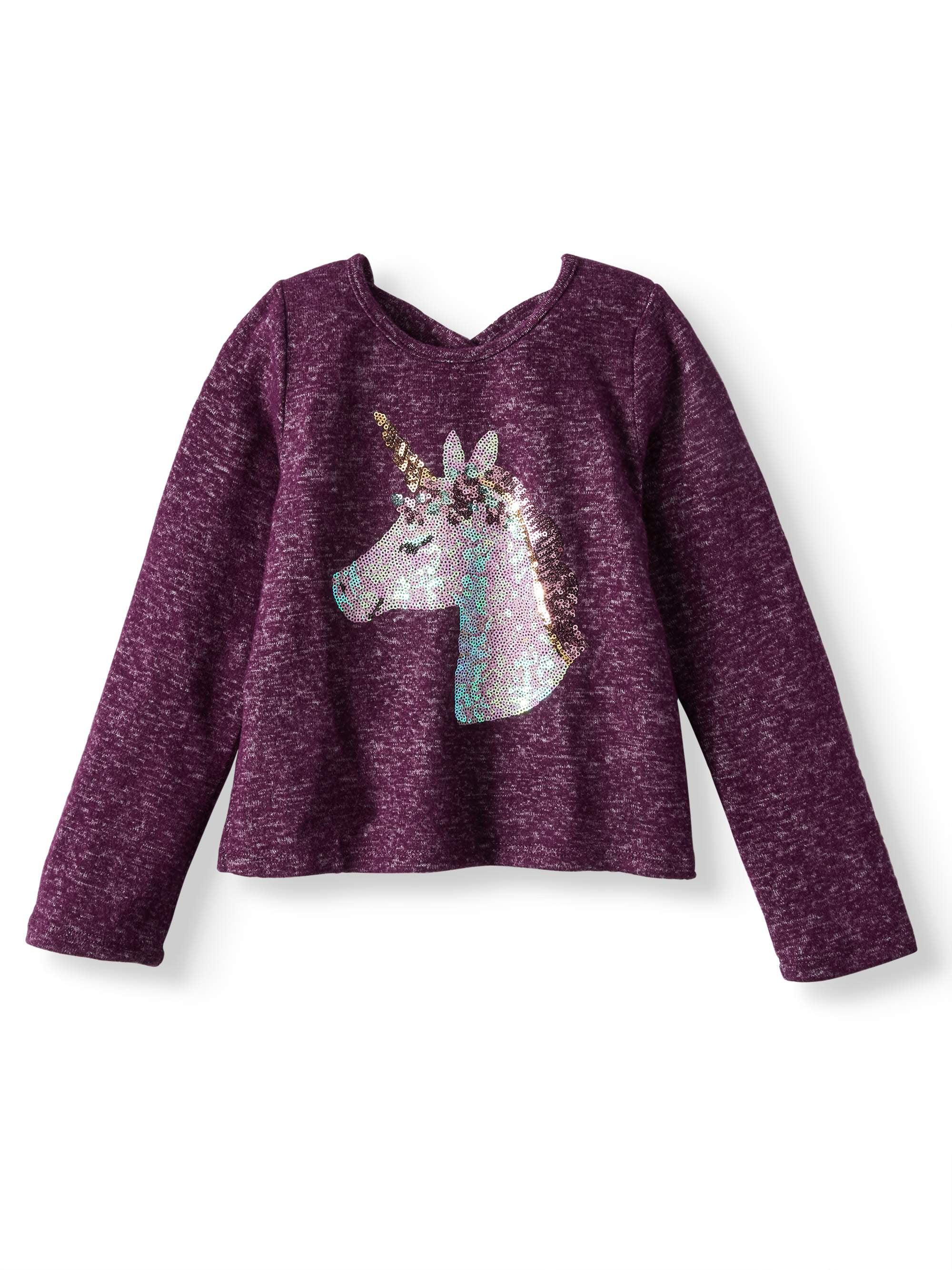 Sequin Unicorn Sweater Knit Top (Little Girls)