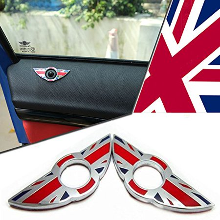 iJDMTOY (2) Red/Blue Union Jack UK Flag Style Wing Emblem Rings For MINI Cooper R55 R56 R57 R58 R59 Door Lock Knobs