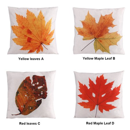 Autumn Leaves Throw Pillow Covers Maple Leaf Fall Decorative Couch Pillow Cases,Cotton Linen Autumn Pillow,18x18