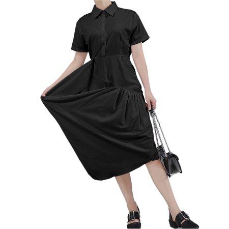 VONDA Women's Solid Cotton Dress Casual Lapel Short Sleeve Shirtdress - image 1 de 8