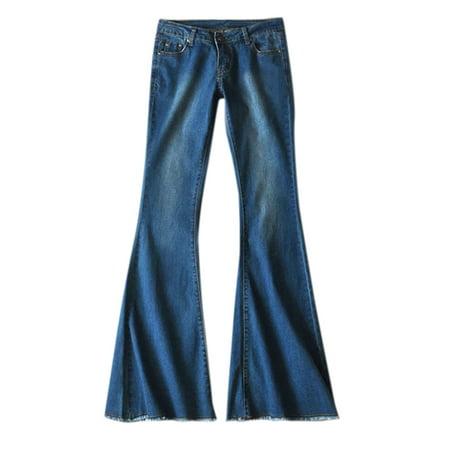 Women's Plus Size Bootcut Wide Leg Pockets Skinny Flare Bottom Jeans Pants Wide Leg Trouser Jean