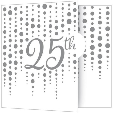 Creative Converting 340541 Silver 25th Anniversary Invitations, 8 Count (25th Anniversary Invitations)