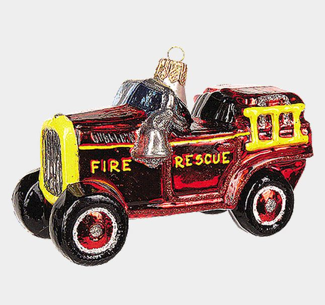 Fire Engine Toy Polish Blown Glass Christmas Ornament Firefighter Decoration