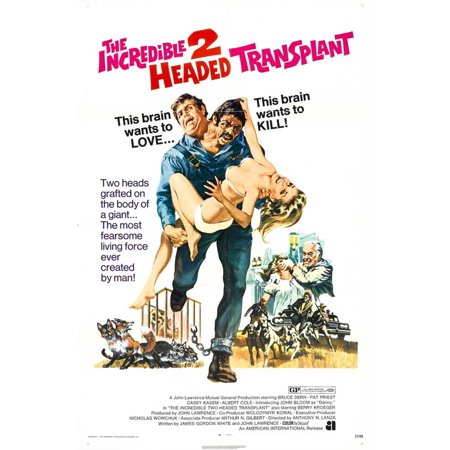 The Incredible 2 Headed Transplant Poster Movie  27X40