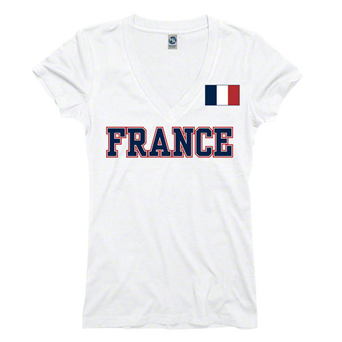 Women's France White Country Flag Pole V-Neck T-Shirt