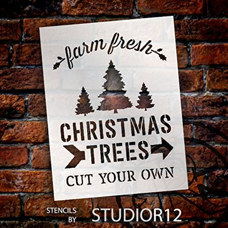 farm fresh christmas trees by studior12 winter farm word stencil reusable mylar template