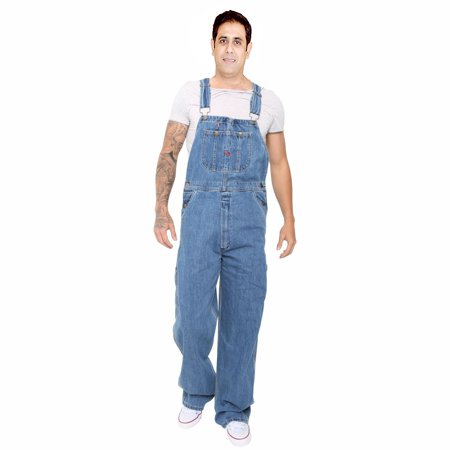 Men's Denim Dungarees Jeans Bib and Brace Overall Pro Heavy Duty Workwear Pants ()