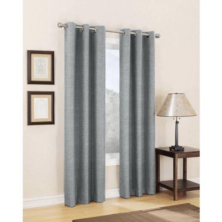 Sun Zero Caleb Linen Texture Thermal Insulated Energy Efficient Grommet Curtain Panel