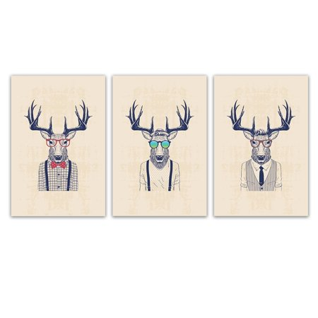 """wall26 3 Panel Animal Canvas Wall Art - Mr Elk with Giant Antler - Giclee Print Gallery Wrap Modern Home Decor Ready to Hang - 24""""x36"""" x 3 Panels"""