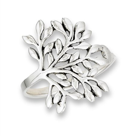 New .925 Sterling Silver Tree of Life Leafy Cut Out Women's Ring Sizes - Life Size Cut Outs