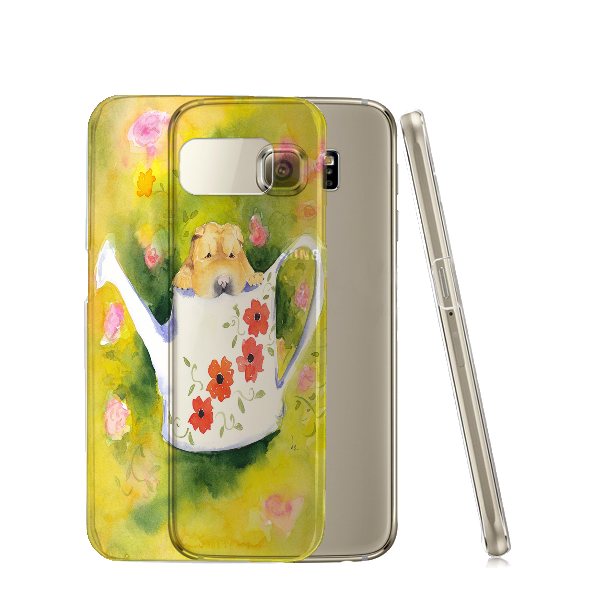 KuzmarK™ Samsung Galaxy S6 Edge Clear Cover Case - Chinese Shar-Pei Puppy in Watering Can with Flowers Art by Denise Every