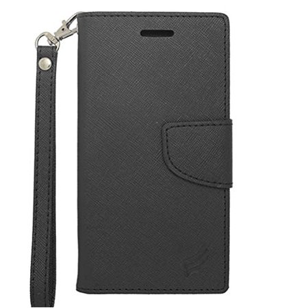 """For Apple iPhone 6 6S 4.7"""" Screen Display - Wydan Hybrid PU Faux Leather TPU Insert Protective Kickstand Credit Card Money Slot Phone Case Cover with Strap Black"""