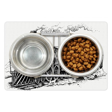 Steam Engine Pet Mat for Food and Water Rustic Old Train in Country L