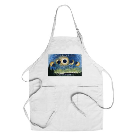 Jackson  Wyoming   Solar Eclipse 2017   Starry Night   Lantern Press Artwork  Cotton Polyester Chefs Apron