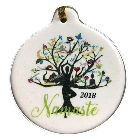 yoga tree namaste 2018 porcelain gift ornament faith love peace family rhinestone crystal (Love Tree)