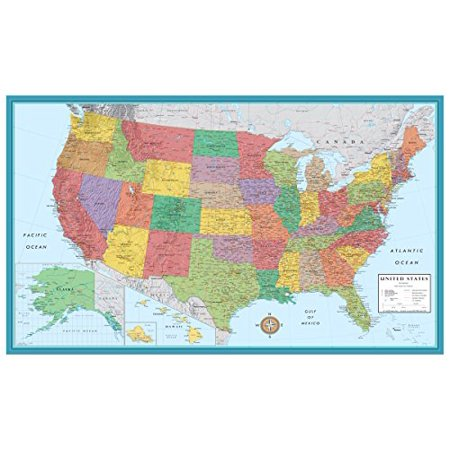 X Huge United States USA Classic Elite Wall Map Poster - Us map poster walmart