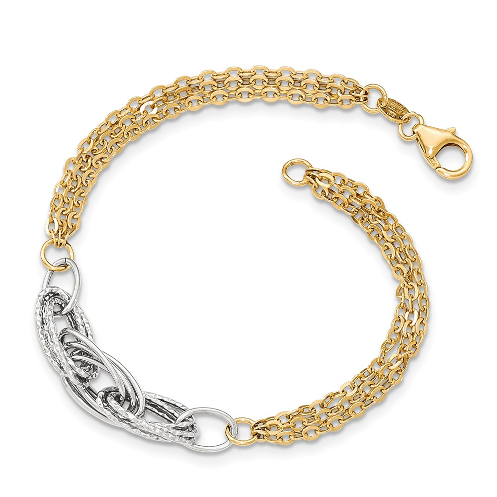 14k Two Tone White & Yellow Gold Diamond Cut & Polished 7.5in Fancy Link Bracelet by Jewelrypot