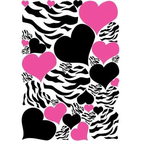 Zebra Print Black and Hot Pink Heart Wall Decals / Stickers / Heart Wall Decor