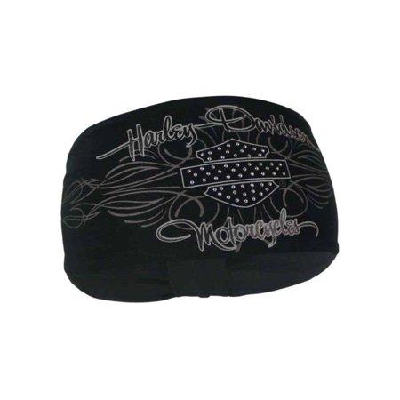 Women's Studded Rhinestone B&S Signature Headband, Black HP21530, Harley Davidson