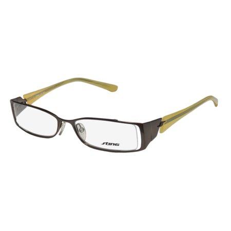 New Sting 4702 Mens/Womens Designer Full-Rim Chocolate / Lemon Two-tone Demo Lens Authentic Sleek Frame Demo Lenses 53-16-135 Flexible Hinges (Sting Glasses Website)