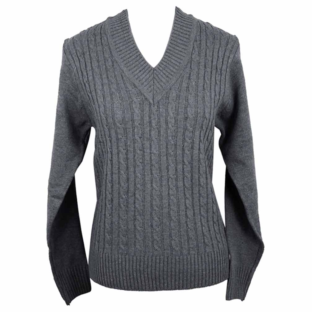 Luxury Divas V-Neck Long Sleeve Cable Knit Sweater
